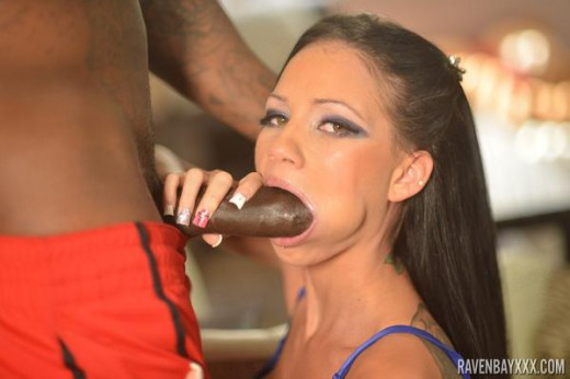 Raven Bay sucking on big black cock